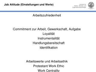 Job Attitude (Einstellungen und Werte)