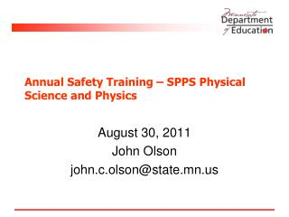 Annual Safety Training � SPPS Physical Science and Physics
