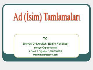 T C  Erciyes Üniversitesi Eğitim Fakültesi Türkçe Öğretmenliği 2.Sınıf 1.Öğretim 1090310293