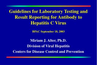 Guidelines for Laboratory Testing and Result Reporting for Antibody to Hepatitis C Virus
