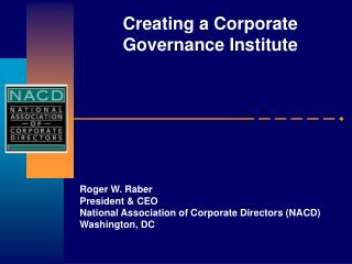 Creating a Corporate Governance Institute