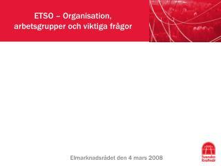 ETSO – Organisation, arbetsgrupper och viktiga frågor