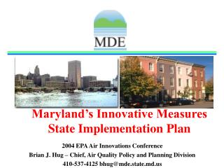 Maryland's Innovative Measures State Implementation Plan
