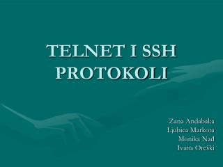 TELNET I SSH PROTOKOLI