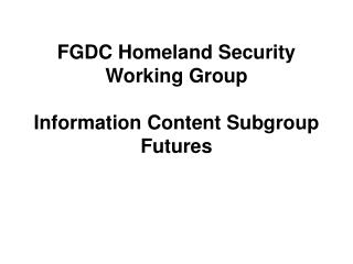 FGDC Homeland Security Working Group Information Content Subgroup Futures