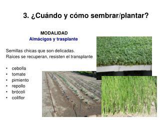 3. ¿Cuándo y cómo sembrar/plantar?