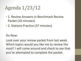 Agenda 1/23/12