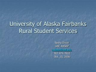 University of Alaska Fairbanks Rural Student Services