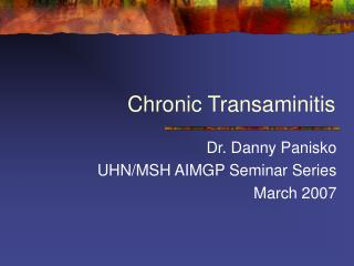 Chronic Transaminitis
