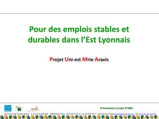 Pour des emplois stables et durables dans l'Est Lyonnais P rojet  U ni-est  M rie  A ravis