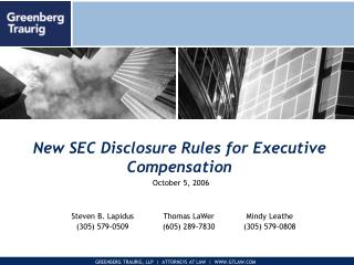 New SEC Disclosure Rules for Executive Compensation