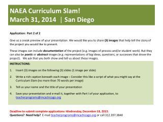 NAEA Curriculum Slam!  March 31, 2014   |  San Diego