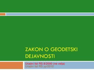 Zakon o geodetski dejavnosti