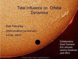 Tidal Influence on  Orbital Dynamics
