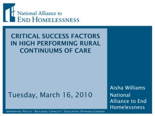CRITICAL SUCCESS FACTORS IN HIGH PERFORMING RURAL CONTINUUMS OF CARE