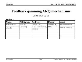 Feedback-jamming ARQ mechanisms