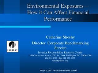 Environmental Exposures—How it Can Affect Financial Performance