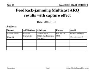Feedback-jamming Multicast ARQ results with capture effect