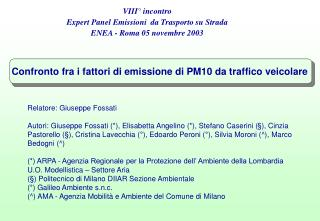 Confronto fra i fattori di emissione di PM10 da traffico veicolare