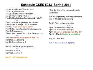 Schedule CSES 5233  Spring 2011