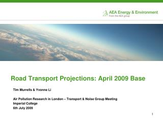 Road Transport Projections: April 2009 Base