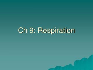 Ch 9: Respiration