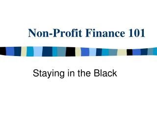 Non-Profit Finance 101
