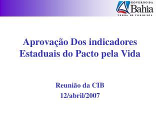 Aprovação Dos indicadores Estaduais do Pacto pela Vida