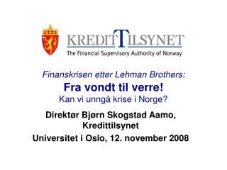 Finanskrisen etter Lehman Brothers: Fra vondt til verre! Kan vi unngå krise i Norge?