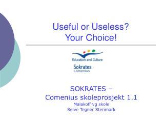 Useful or Useless? Your Choice!