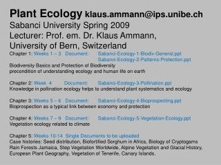 Plant Ecology klaus.ammann@ips.unibe.ch Sabanci University Spring 2009
