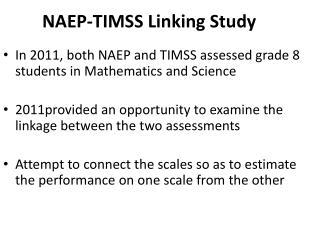 NAEP-TIMSS Linking Study