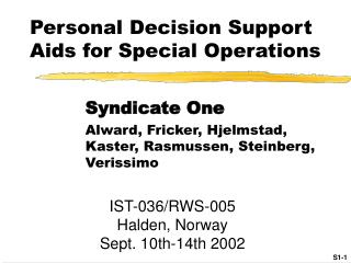 Personal Decision Support Aids for Special Operations