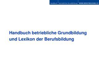 Handbuch betriebliche Grundbildung und Lexikon der Berufsbildung