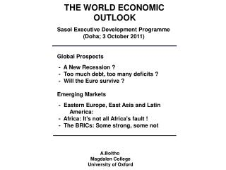 THE WORLD ECONOMIC