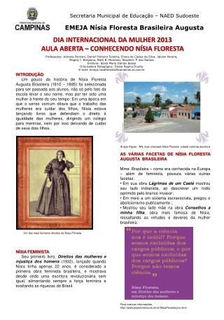 Secretaria Municipal de Educação – NAED Sudoeste EMEJA Nísia Floresta Brasileira Augusta