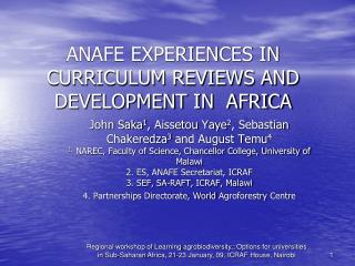 ANAFE EXPERIENCES IN CURRICULUM REVIEWS AND DEVELOPMENT IN  AFRICA