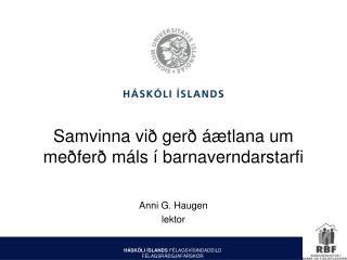 Samvinna við gerð áætlana um meðferð máls í barnaverndarstarfi
