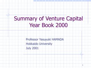 Summary of Venture Capital Year Book 2000