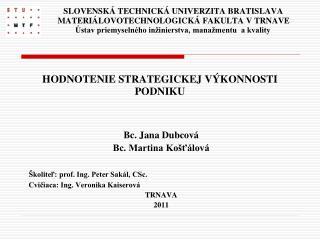 Bc. Jana Dubcová Bc. Martina Košťálová Školiteľ: prof. Ing. Peter Sakál, CSc.