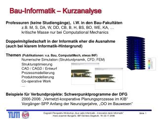 Bau-Informatik – Kurzanalyse
