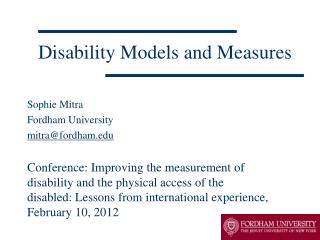 Disability Models and Measures