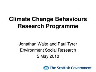Climate Change Behaviours Research Programme