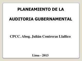 PLANEAMIENTO DE LA AUDITORIA GUBERNAMENTAL