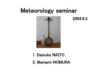 Meteorology seminar