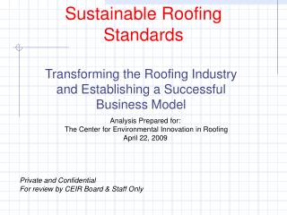 Sustainable Roofing Standards