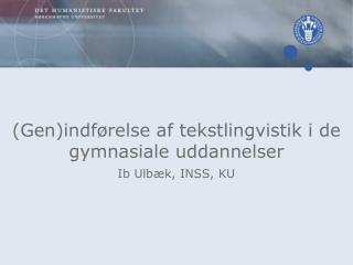 (Gen)indførelse af tekstlingvistik i de gymnasiale uddannelser