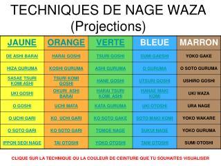 TECHNIQUES DE NAGE WAZA (Projections)