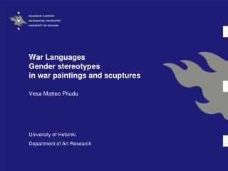 War Languages  Gender stereotypes  in war paintings and scuptures