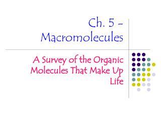 Ch. 5 - Macromolecules